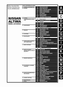 2016 Nissan Altima Model L33 Series  Oem Service And