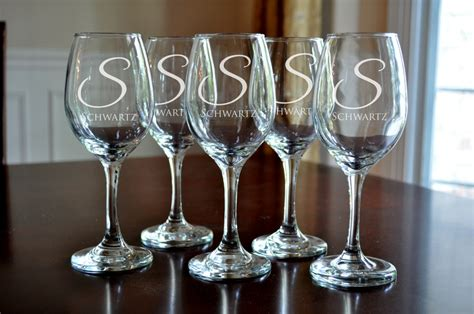 Personalized Wine Glasses Engraved Monogram Wine Glasses