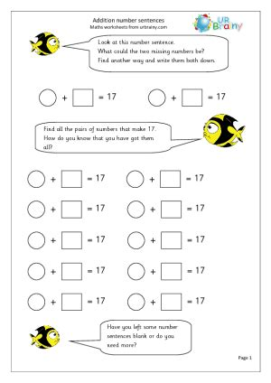 year  maths worksheets addition number sentences urbrainy