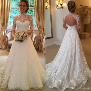 vintage wedding dresses cheap 2016 vintage lace wedding dresses sleeve backless country sheer bridal gowns high neck