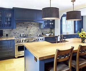 blue kitchen cabinets with wood countertops google With kitchens with blue in it