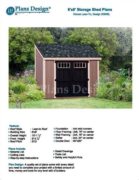 shed plans 6 x 8 backyard storage lean to roof style