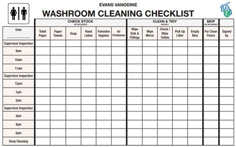 toilet cleaning checklist templates word excel fomats