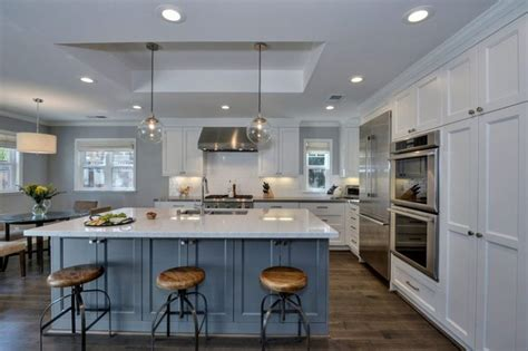 white kitchen cabinets with island 25 blue and white kitchens design ideas designing idea 2075