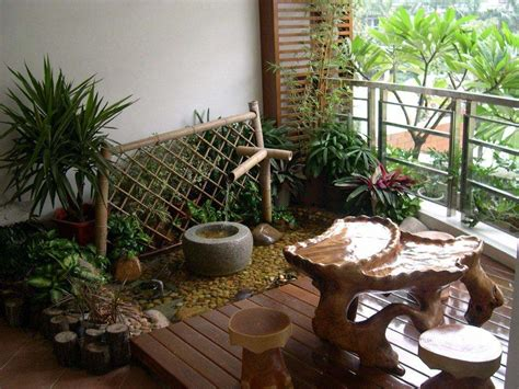 japanese style terrace garden design with unique furniture