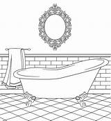 Coloring Bathtub Clipart Bathroom Pages Colouring Bird Stamps Digital Printable Drawing Paper Bathrooms Houses Templates Clip Doll Birdscards Cardboard Household sketch template