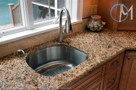 d shaped kitchen sink santa cecilia granite with a half bullnose edge 6413