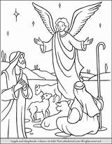Shepherds Angels Coloring Gloria Announce God Angel Birth Visit Christ Among sketch template