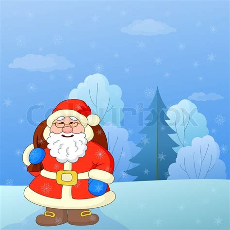 Santa Claus In Snowy Weather By Clairev Santa Claus With A Bag Of Gifts On A