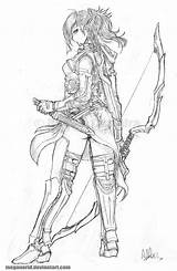 Ranger Elven Meganerid Deviantart Drawing Archer Fantasy Character Characters Dungeons Dibujos Elf Pencil Coloring Drawings Draw Base Quest Sketches Anime sketch template