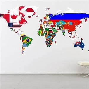 Carte Du Monde Sticker : sticker mural carte du monde avec drapeaux l carte murale pinterest ~ Dode.kayakingforconservation.com Idées de Décoration