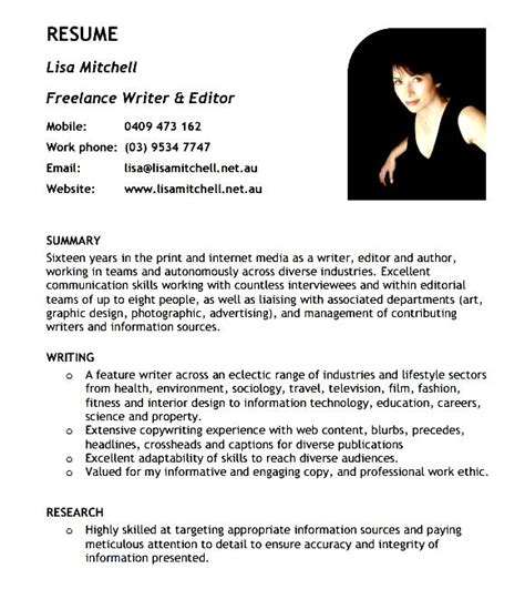 Freelance Writer Resume by Freelance Writer Resume Template Free Sles Exles