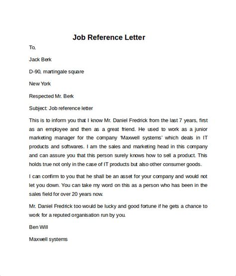 job reference letters samples examples formats