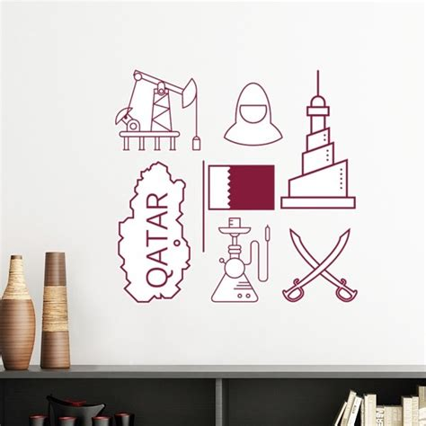 hand painted simple  drawing city qatar flag removable
