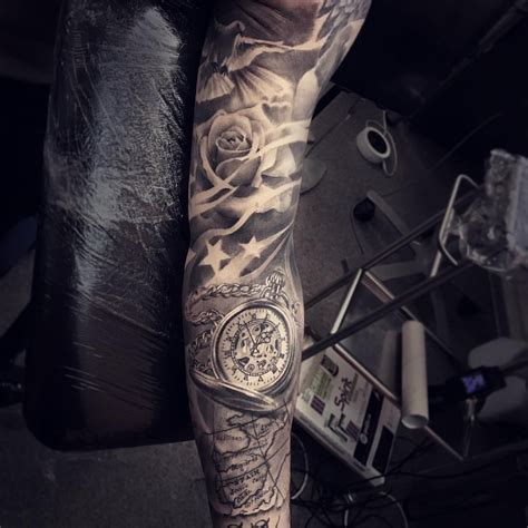 sleeve tattoo stars roses dove tattoos sleeve tattoos tattoos mens star tattoo sleeve