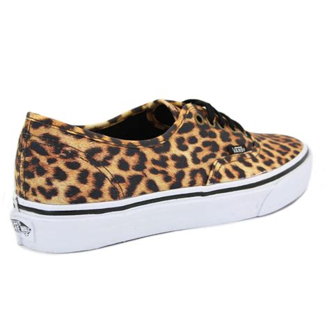 vans leopard authentic qer69i womens laced canvas trainers
