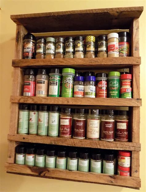 spice rack with spices spice rack rustic reclaimed wood pallet by redbeardrustics