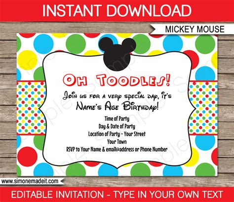 mickey mouse party invitations template birthday party
