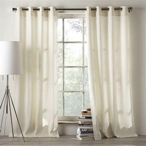 linen cotton grommet curtain ivory west elm