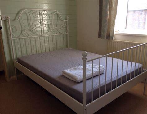 White Metal Double Ikea Bed Frame & Mattress
