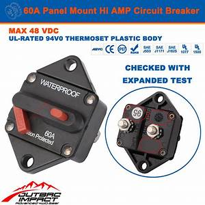 60a Amp Circuit Breaker Panel Mount Manual Reset Ip67 W