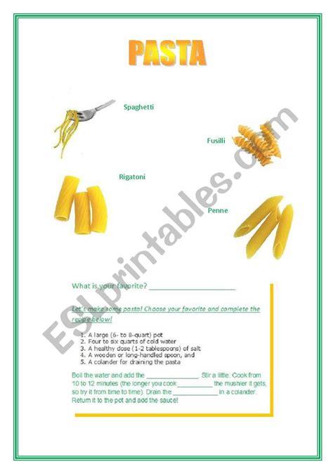 english worksheets pasta