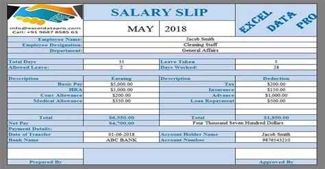 ready salary slip excel templates exceldatapro