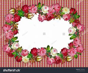 Vintage Rose Frame On Wallpaper Stock Photo 135403661 ...