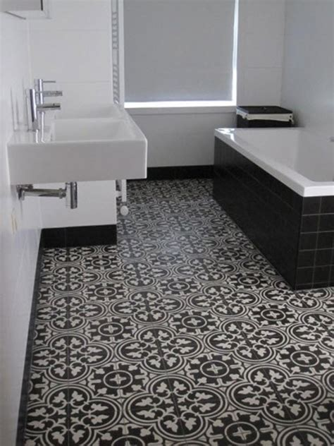 Black White Floor Tiles Bathroom With Popular Creativity
