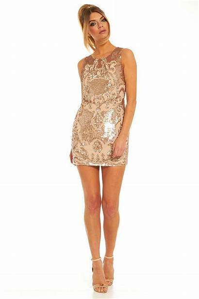 Sloan Thread Needle Mini Gold Dresses Embellished