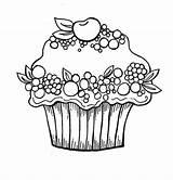 Cupcake Coloring Cupcakes Pages Printable Birthday Berry Cherry Fruit Happy Clipart Colouring Cakes Kleuren Clip Kleurplaat Kleurplaten Popular Coloringhome sketch template