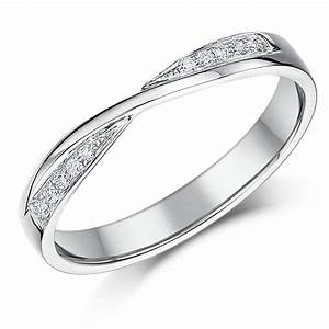 3mm 9ct white gold crossover diamond wedding ring 9ct With crossover wedding ring