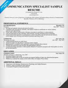 communication specialist resume exles communication specialist sle resume