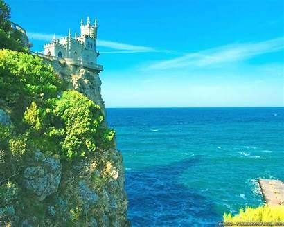 Summer Scenes Wallpapers Castle Beach Ocean Cliff
