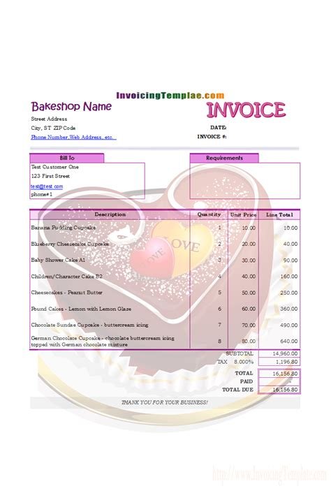invoicing format  bakery  cake shop invoice
