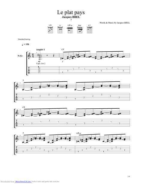 le port d amsterdam tab le plat pays guitar pro tab by brel jacques musicnoteslib