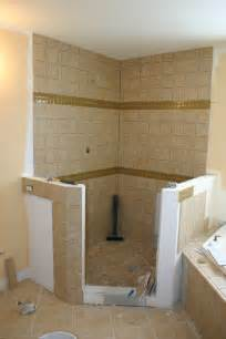 Corner Shower Small Bathroom with Tile