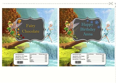 foto de Tinkerbell and Periwinkle candy wrappers Fairy birthday