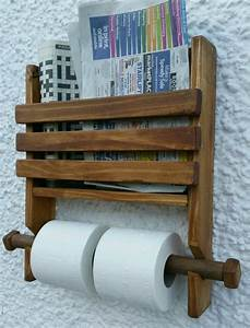 Rustic wooden wall double toilet roll holder and book for Diy magazine rack for bathroom wood