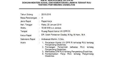 Contoh Risalah Rapat by Risalah Rapat Pembahasan Rancangan Undang Undang Usul Dpr