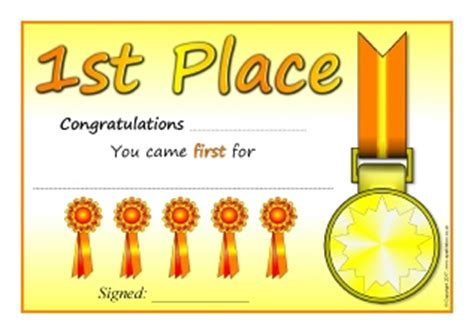 1st Place Certificate Template Free by 1st Place 2nd Place 3rd Place And Highly Commended