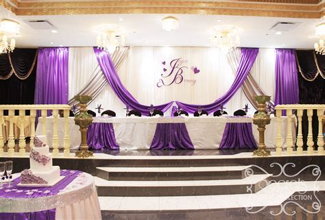 purple silver and white wedding decorations an backdrop with royal purple and silver satin accents secrets floral collection