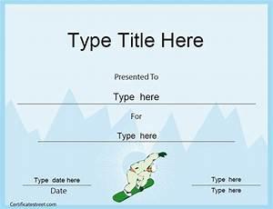 Sport Certificate Templates Sports Certificate Snowboard Certificate Template Sports
