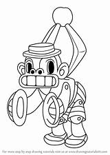 Cuphead Mr Chimes Draw Drawing Coloring Step Template Sketch sketch template