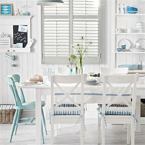 White Panelled Dining Room With A Seaside Theme Dining