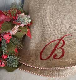 60 quot natural burlap christmas tree skirt with red and white french tic