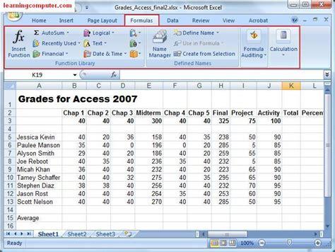 ms excel microsoft excel formulas tab tutorial learn ms excel 2007 it computer