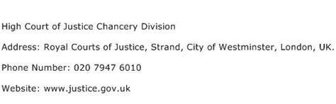 justice phone number high court of justice chancery division address contact