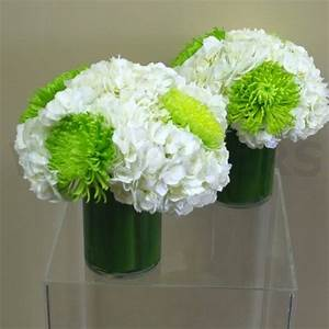 White and Lime Green Wedding Centerpiece - W Flowers Ottawa