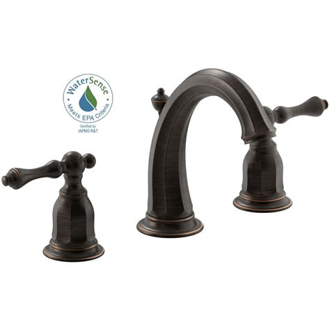 kohler kelston   widespread  handle water saving bathroom faucet  oil rubbed bronze